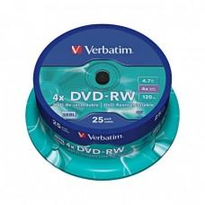 компактдиск Verbatim DVD+RW 4,7 GB 4x, Cake Box/25
