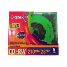 компактдиск Digitex CD-RW 8см. 210Mb 12x Color, 5шт.