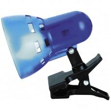 светильник Camelion KD-304 синий п/прозрачн.(прищепка, б/лампы,230V40W)